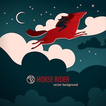 Wildes rotes pferdeplakat mit pferd kreuzen den nachthimmel mit einem reiter