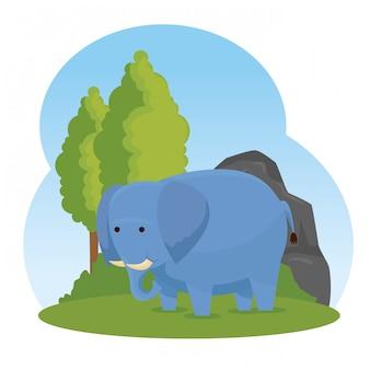 Wildes tier des elefanten mit bäumen und büschen