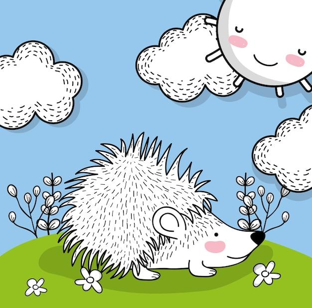 Wildes tier des stachelschweines mit glücklicher sonne
