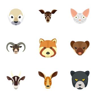 Wildes tier-icon-set. flacher satz von 9 ikonen des wilden tieres
