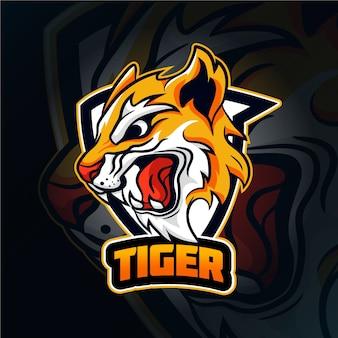 Wildes tiger maskottchen logo