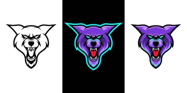 Wildes wolf e sport maskottchen logo design