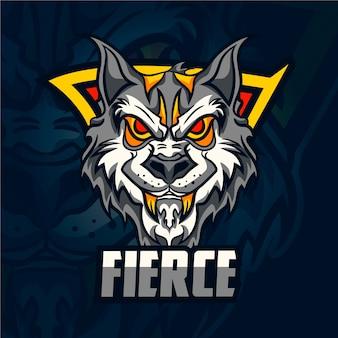 Wildes wolf maskottchen logo