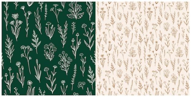 Wildflower nahtlose muster mit umriss florals. retro-stil-print-design-kollektion mit handgezeichneten blumen in rustikalen farben. einfache feldblumenmuster für tapeten, verpackungen, stoffdesign