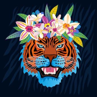 Wildkatze des roten tigerbrüllkopfes im bunten blumendschungel. tropische blätter des regenwaldes hintergrundzeichnung.