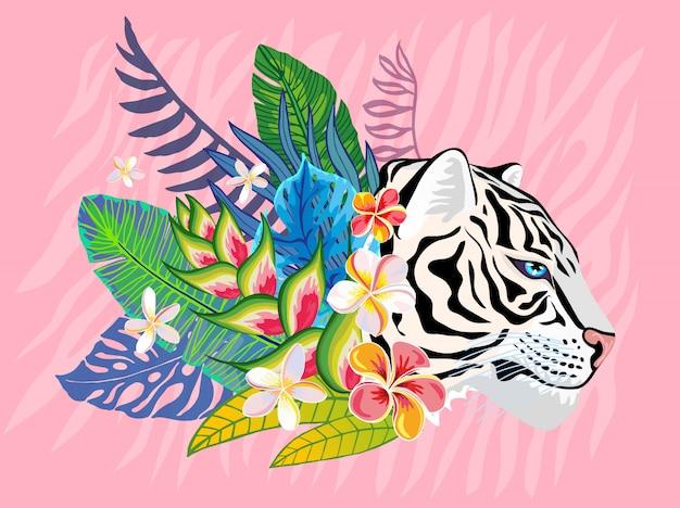 Wildkatze des weißen tigerkopfes im bunten dschungel. tropische blätter des regenwaldes hintergrundzeichnung. rosa tiger streift charakterkunstillustration