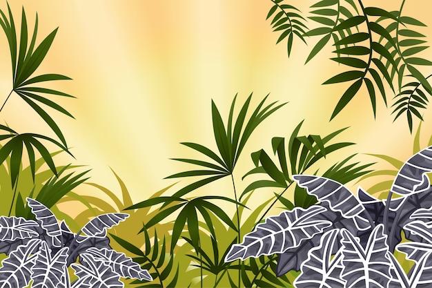 Wildlandschaft mit tropischen pflanzen.