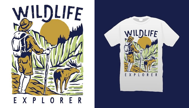 Wildlife explorer t-shirt design
