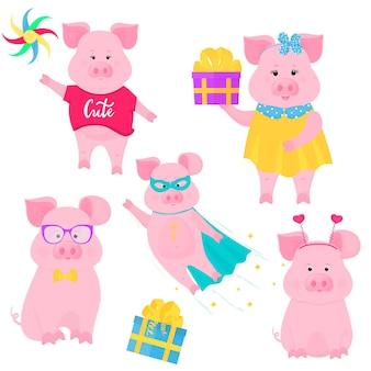 Wildschwein geht mit einem windmühlenspielzeug. süßes schwein im superheldenkostüm. ein lustiges schweinchen, das eine schachtel mit einem geschenk hält. süßes ferkel sitzt in brille und fliege