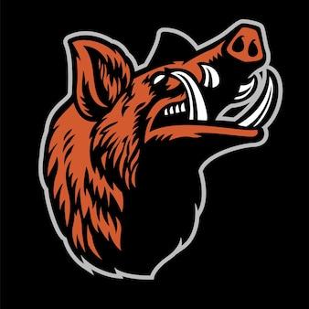 Wildschweinkopf-maskottchen