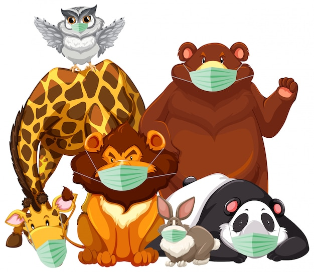 Wildtiere charater tragen maske