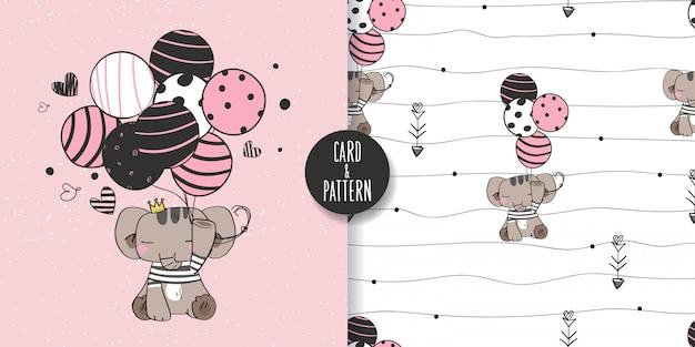 Wildtiere nette hand gezeichnete wilde tiere, die einen ballon in der hand halten tragen kostüm einfache streifen gestik glückliches gesicht lächeln in nahtlosem muster und illustration