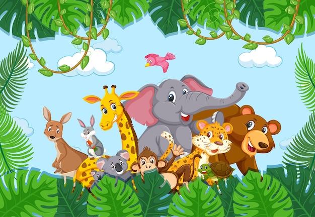 Wildtiergruppe im waldrahmen