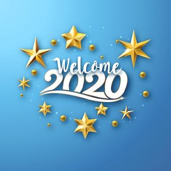 Willkommen 2020 - grußkarte des neuen jahres mit sternen