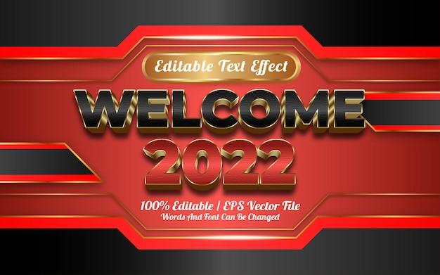 Willkommen 2022 texteffekt goldener stil