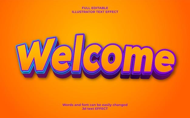 Willkommen 3d editierbarer stil texteffekt