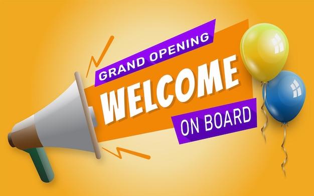 Willkommen an bord banner mit megaphon banner-vorlage zur eröffnungsfeier