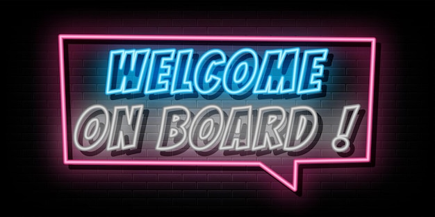 Willkommen an bord neontext neonsymbol