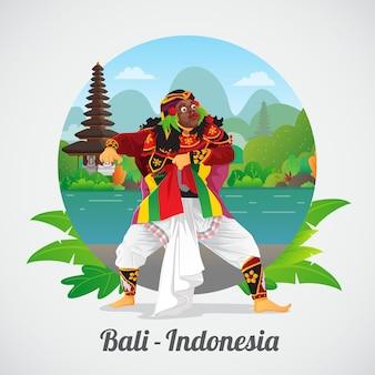 Willkommen auf bali grußkarte mit balinesischen maskentänzer