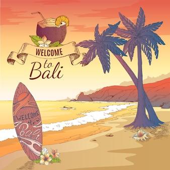 Willkommen auf bali illustration