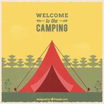 Willkommen auf dem campingplatz hintergrund
