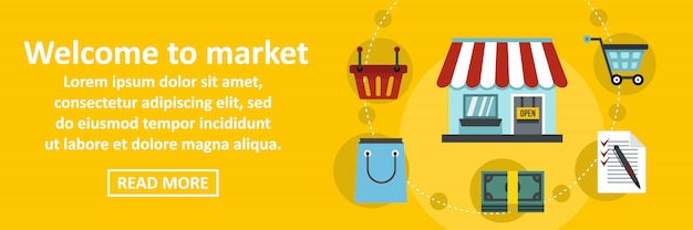 Willkommen auf dem markt banner horizontale konzept