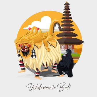 Willkommen auf der bali-grußkarte mit balinesischem barong-tanz