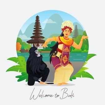 Willkommen auf der bali-grußkarte mit balinesischer tänzerin