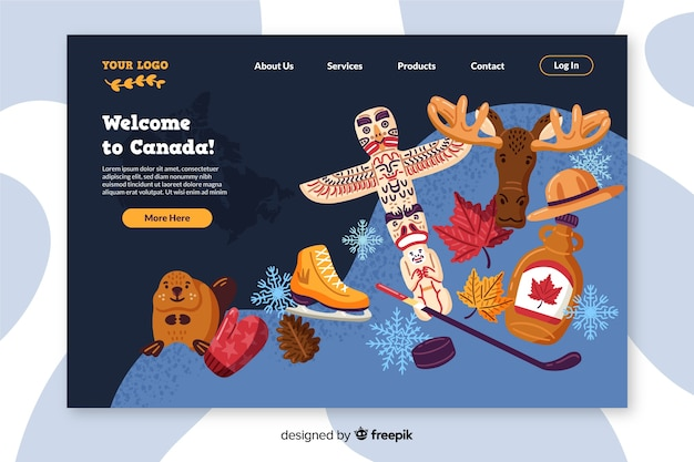 Willkommen auf der bunten landingpage von kanada