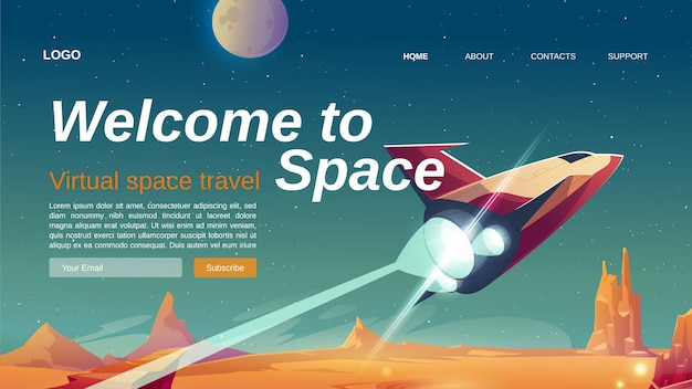 Willkommen auf der landingpage für weltraum-cartoons mit raumschiff, das die oberfläche eines außerirdischen planeten abhebt.