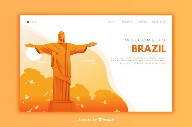 Willkommen auf der orangefarbenen landingpage von brasilien