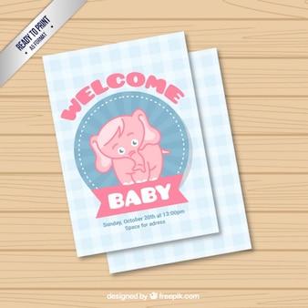 Willkommen baby-karte mit einem niedlichen elefanten