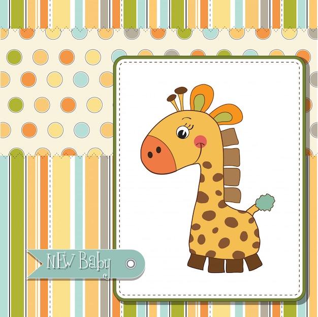 Willkommen baby karte mit giraffe