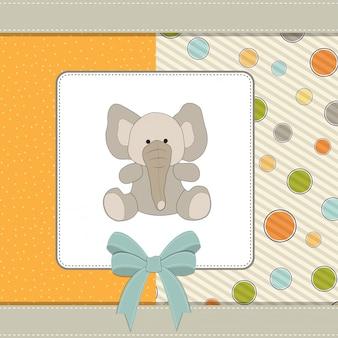 Willkommen babykarte mit elefanten