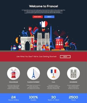 Willkommen bei der vorlage für die reise-website für frankreich