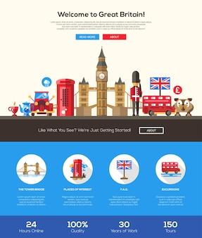 Willkommen bei der vorlage für die reise-website für großbritannien