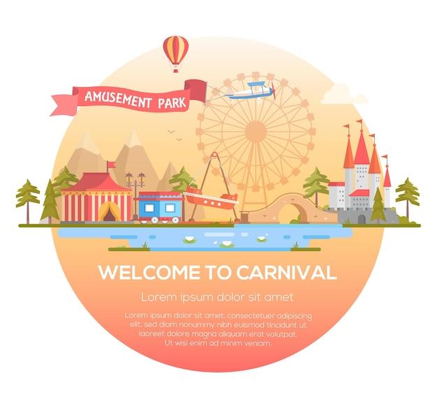 Willkommen beim karneval - moderne vektorgrafik in einem runden rahmen mit platz für text. stadtbild mit attraktionen, zirkuspavillon, schloss, berge, teich. unterhaltung, vergnügungsparkkonzept