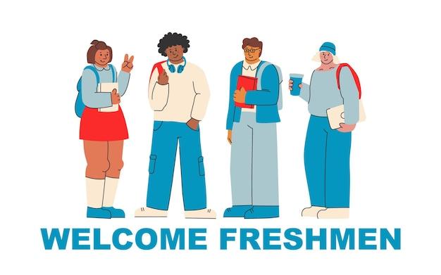 Willkommen erstsemester nette illustration zur begrüßung neuer college- und universitätsstudenten
