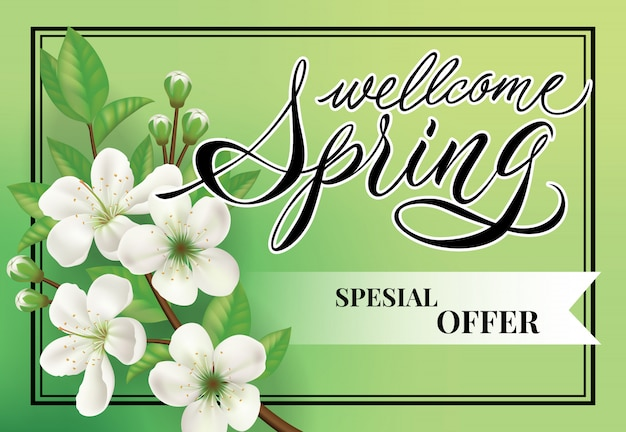 Willkommen frühling sonderangebot schriftzug. einkaufsaufschrift mit apfelblütenblumen.