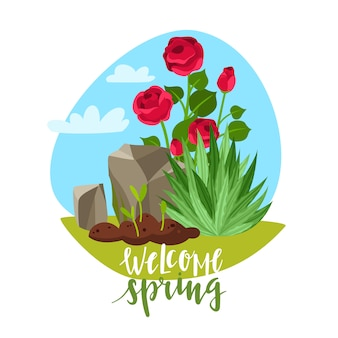 Willkommen frühlingsgarten pflanzen schriftzug illustration