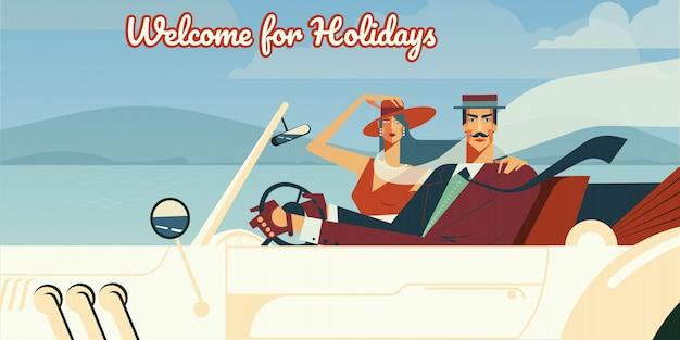 Willkommen für feiertage retro- illustration des mannes und der frau, die in weinlesekabrioletauto fahren.