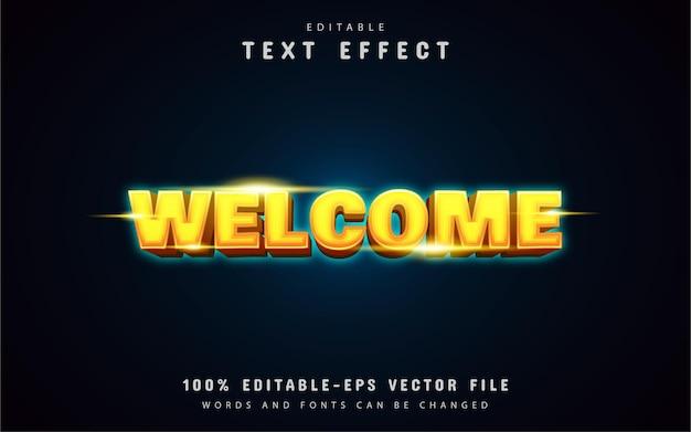 Willkommen gelber neon-texteffekt