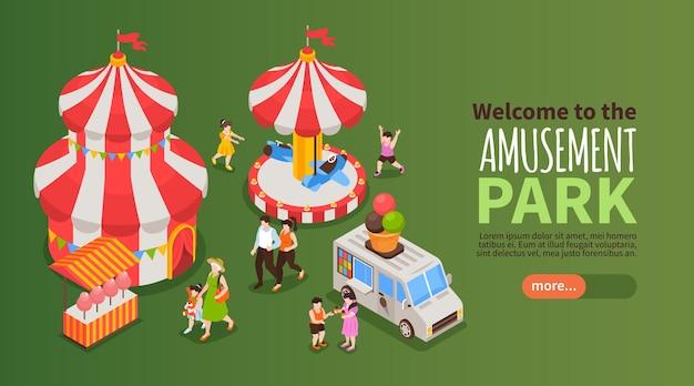 Willkommen im horizontalen banner des vergnügungsparks mit karussell und zirkus