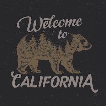Willkommen im kalifornischen t-shirt-design mit illustration der bärensilhouette