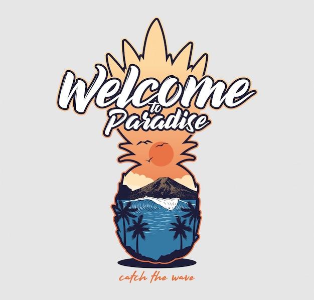 Willkommen im paradies schönen meer meerblick sonnenuntergang palm mountain. kalifornien hawaii malibu strand vintage mode illustration in ananas form t