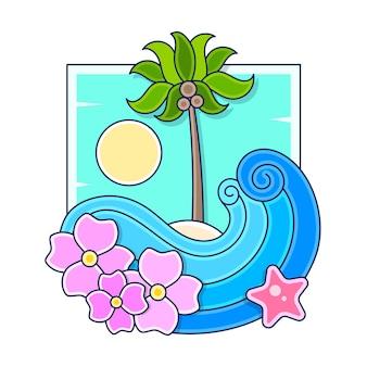 Willkommen im vintage-poster-design des tropischen paradieses. genießen sie die retro-vektorillustration des sonnenscheins.