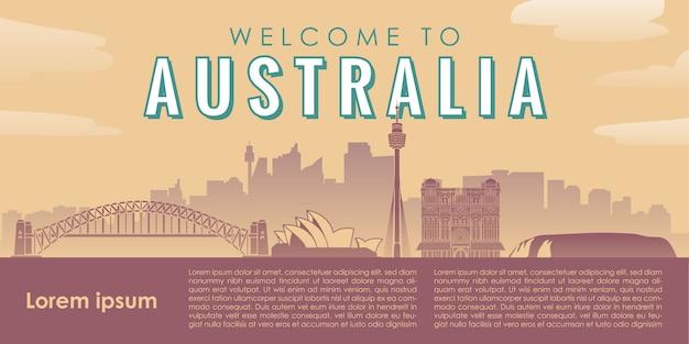 Willkommen in australien wahrzeichen illustration