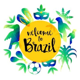 Willkommen in brasilien. icon set reise-und tourismus-konzept. brasilien hintergrund