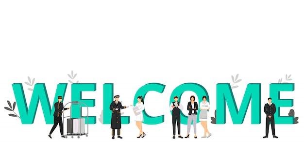 Willkommen in der hotelfarbillustration. gastgewerbe, unterkunftsservice. hallenträger, portier, resortmanager. zeichentrickfiguren des arbeitspersonals auf weiß