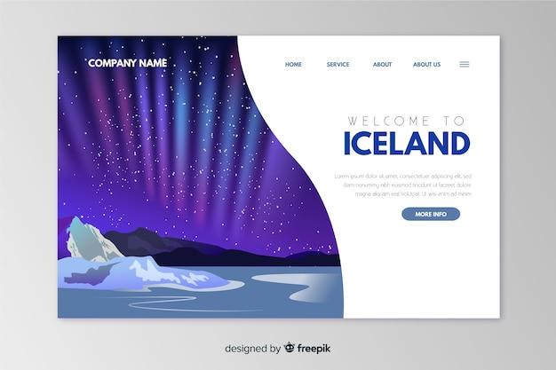 Willkommen in der island landing page vorlage